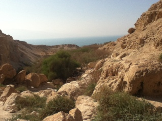 Blick aus dem Wadi David Richtung Totes Meer